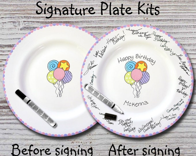 Hand Painted Signature Birthday Plate - Birthday Balloons - Happy Birthday Plate - 1st Birthday - Birthday Gift