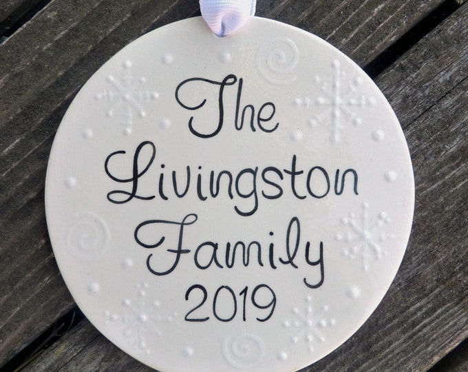 Personalized Ceramic Christmas Ornament - Personalized Ceramic Family Christmas Ornament - Family Christmas Ornament with Names & Snowflakes