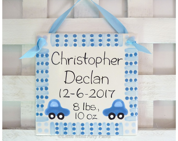 "Baby Shower Plates - Personalized Baby Plates - Personalized Birth Plates - 6"" Blue Birth Announcement Plaque - car polka-dots"