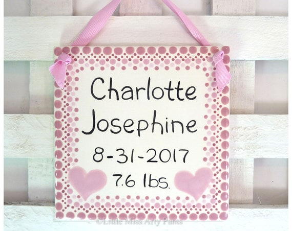 Personalized Baby Plate - Personalized Birth Plates - Pink Birth Announcement Plaque - Baby Shower Plates - new baby gift -hearts polka-dots