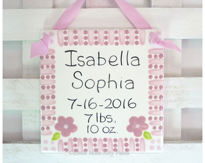 "Baby Shower Plates - Personalized Baby Plate - Personalized Birth Plates - 6"" Pink Birth Announcement Plaque - hearts polka-dots"