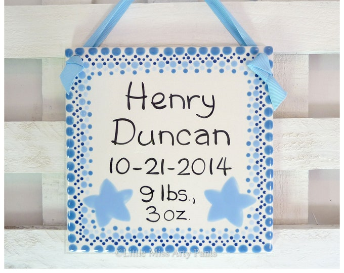 "Baby Shower Plates - Personalized Baby Plates - Personalized Birth Plates - 6"" Blue Birth Announcement Plaque - star polka-dots"