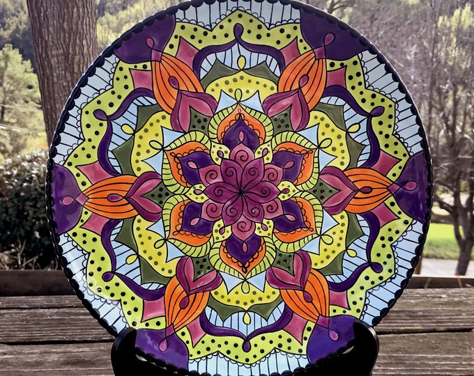 Hand Painted Ceramic Mandala Plate - One-of-a-kind