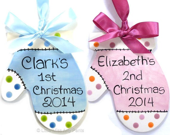 Personalized Ceramic Christmas Ornament -  Baby Mitten Ornament - Polka Dots - 1st Christmas Ornament