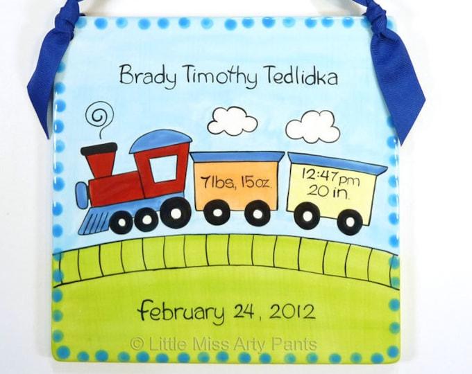 Personalized Birth Plates - Personalized Ceramic Baby Plate- Personalized Baby Plates- New Baby- Baby Train Design Birth Announcement Plaque