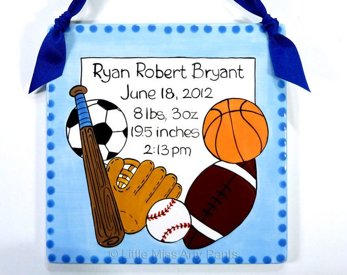 Personalized Birth Plates - Personalized Ceramic Baby Plate - Personalized Baby Plates - New Baby - Sports Design Birth Announcement Plaque