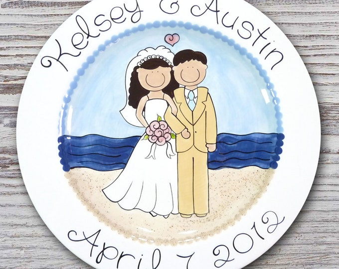 Personalized Wedding Plates - Hand Painted Ceramic Wedding Plate - Personalized Wedding Plate - Happy Couple Beach Design - Beach Wedding