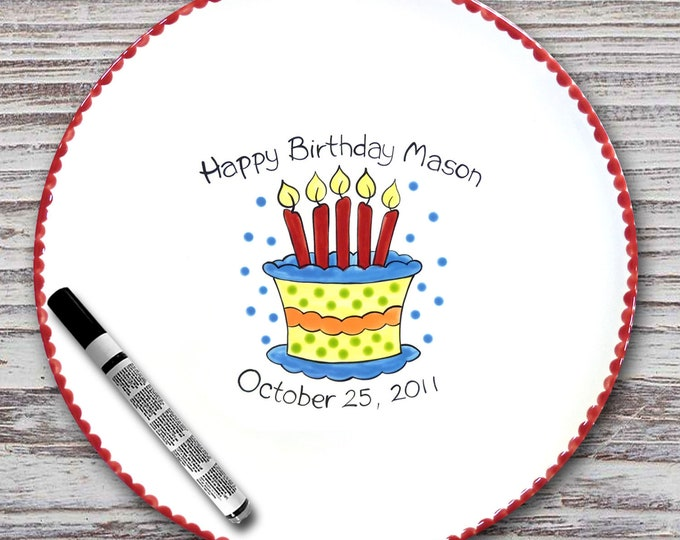 Personalized Birthday Signature Plate - Birthday Cake - Personalized Birthday Plate - Happy Birthday Plate - 1st Birthday plate