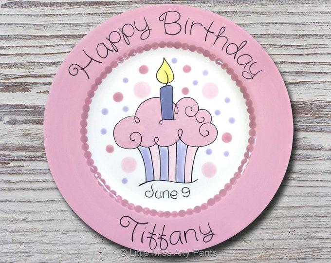 Personalized Birthday Plates - Happy Birthday Plate - 1st Birthday Plate - Hand painted Ceramic Birthday Plate - Bubble Cupcake Design