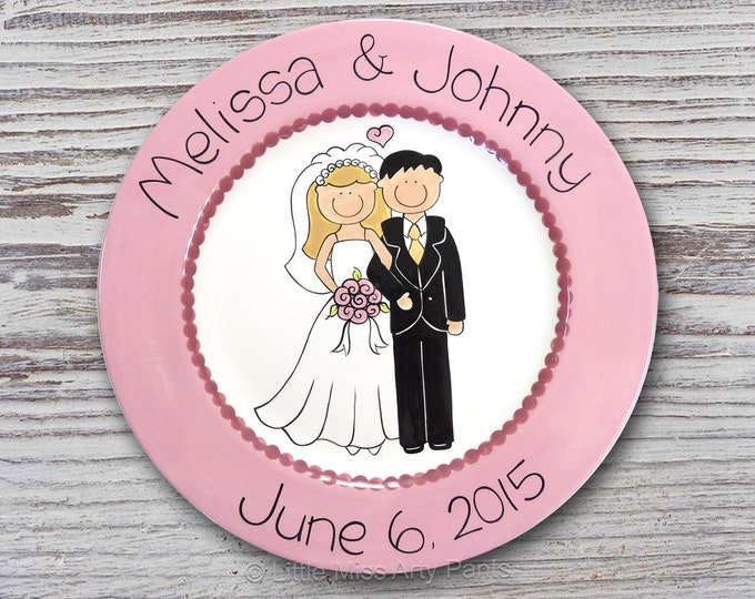 "Personalized Wedding Plate - Custom Anniversary Plate - Hand Painted Ceramic Wedding Plate - Gift for Wedding  - 11"" Happy Couple Design"