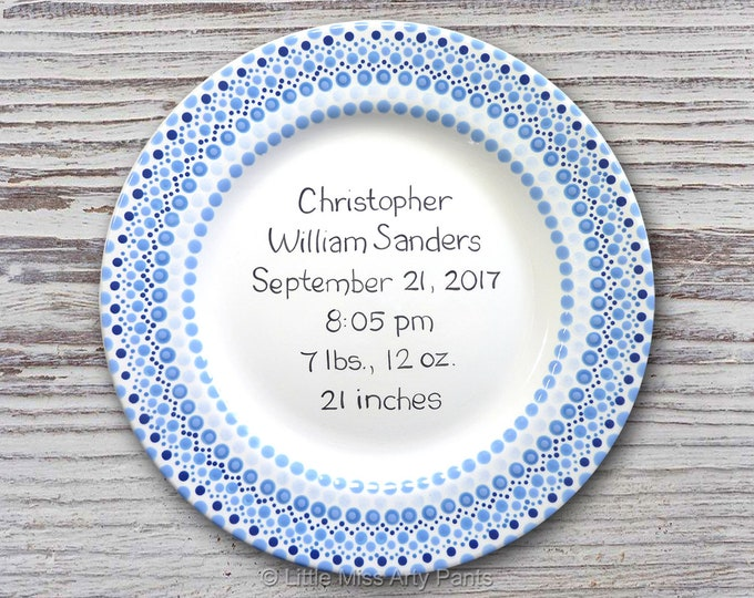 Personalized Birth Plates - Personalized Ceramic Baby Plate - Personalized Baby Plate - Baby Shower Plates - Mandala Baby Design - New Baby