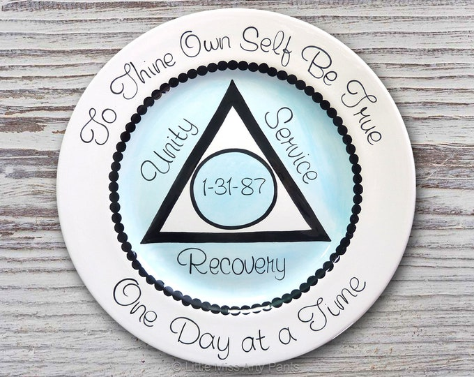 AA Alcoholics Anonymous Personalized AA Birthday/Recovery Plate - AA Recovery - Serenity- Unity, Service, Recovery - Al-Anon - 11 inch plate