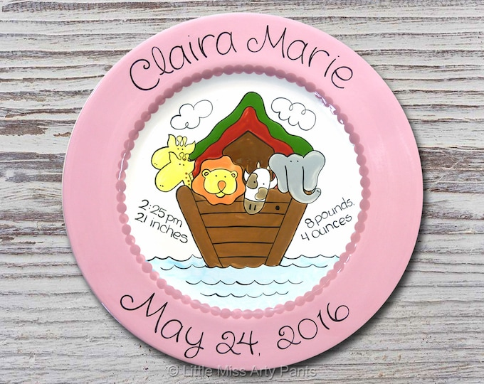 Personalized Birth Plates - Personalized Ceramic Baby Plate - Personalized Baby Plates - Baby Shower Plates - Baby Ark Design - New Baby