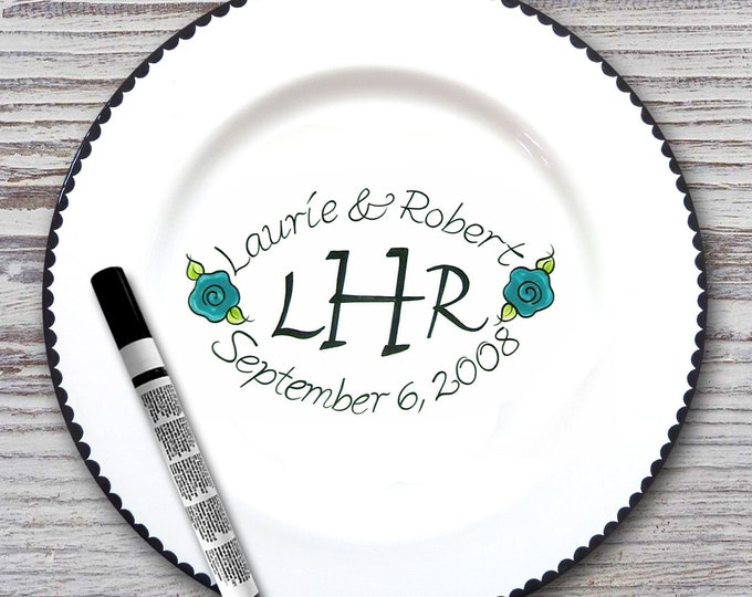 Personalized Wedding Signature Plate - Monogram Design - Guest Book Plate - Wedding Gift- Personalized Wedding Plate - Signature platter