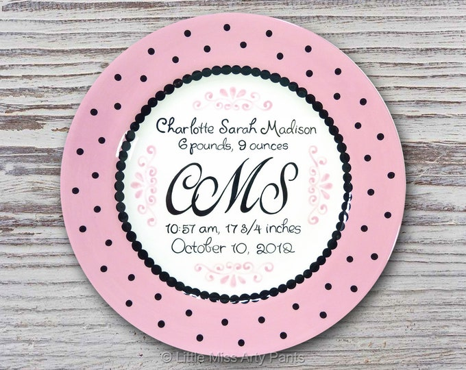 Personalized Birth Plates - Personalized Ceramic Baby Plate - Personalized Baby Plates - Baby Shower Plates - Baby Monogram Design