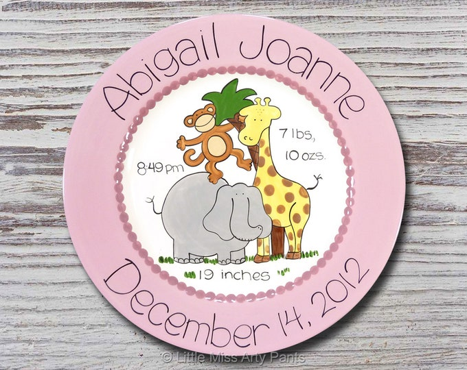 Personalized Birth Plates - Personalized Ceramic Baby Plate - Personalized Baby Plates - Baby Shower Plates - Zoo Animals Design - New Baby