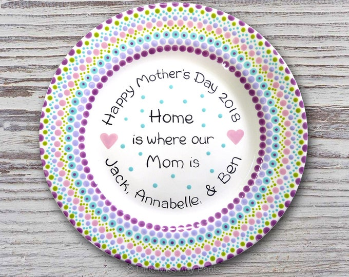 Mandala Mother's Day Plate - Mother's Day Gift - Mother's Day Plate - Mandala Plate - Personalized Plate -Hand Painted Plate