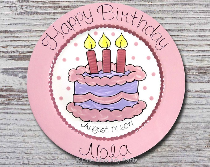 Personalized Birthday Plates - Happy Birthday Plate - 1st Birthday Plate - Hand painted Ceramic Birthday Plate - Birthday Cake Design