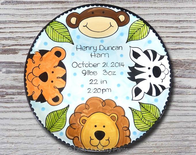 Personalized Birth Plates - Personalized Ceramic Baby Plate - Personalized Baby Plates - Baby Shower Plates- Jungle Animal Design - New Baby