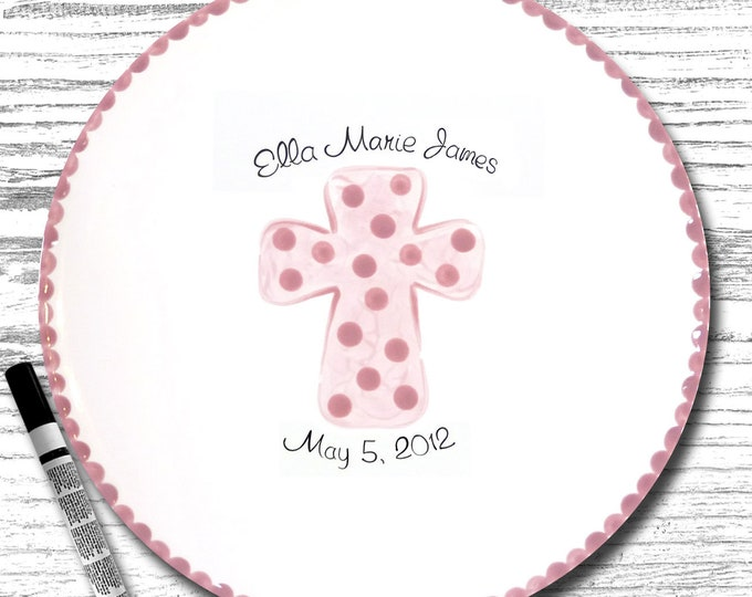 Personalized Cross Signature Plate - Hand Painted Signature Plate - Personalized Plate - Guest Book Plate - Signature Plate
