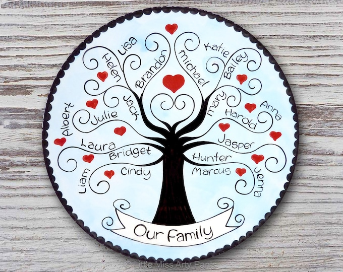Personalized Family Plate - Family Tree - Family Plate - Personalized Family Plate - Adoption Gift - Housewarming plate