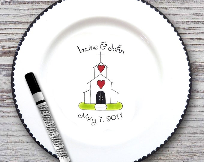 Personalized Wedding Signature Plate - Guest Book Plate - Wedding Gift- Personalized Wedding Plate - Signature platter - Chapel Design