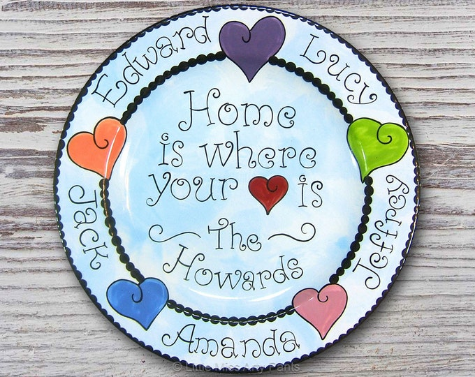 Personalized Family Plate - Home is where the Heart is Design - hand painted plate - ceramic plate - personalized plate - mothers day plate