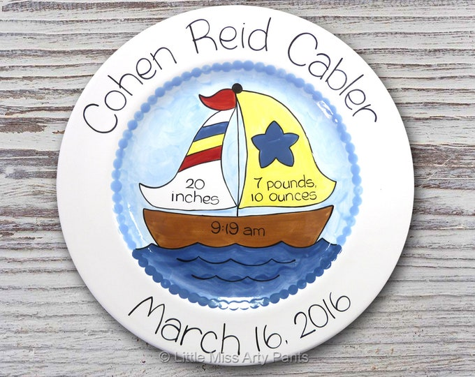 Personalized Birth Plates - Personalized Ceramic Baby Plate - Personalized Baby Plates - Baby Shower Plates - Sail Boat Design - New Baby