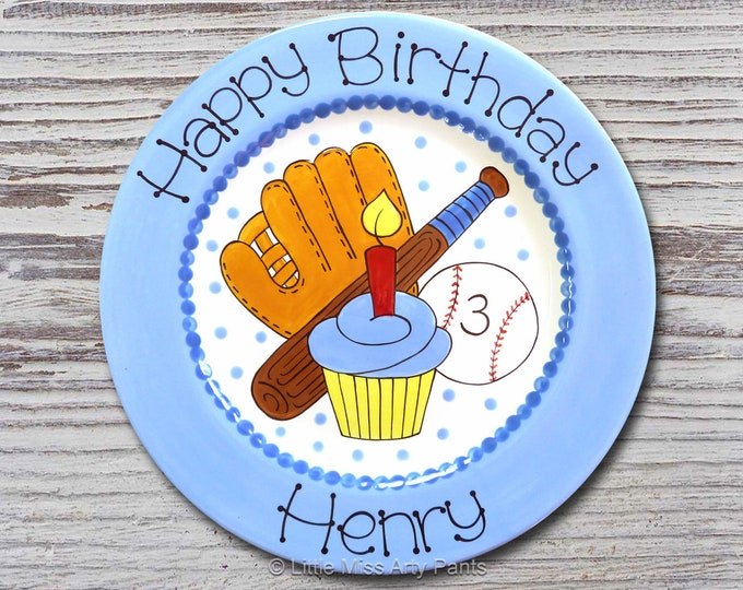 Personalized Birthday Plates - Happy Birthday Plate - 1st Birthday Plate - Hand painted Ceramic Birthday Plate - Birthday Baseball Design