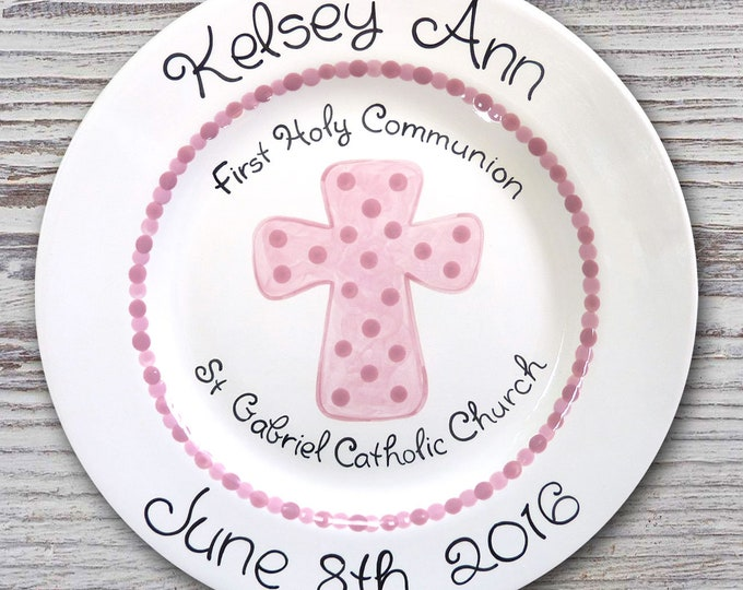 Personalized Baptism & Communion Plates- Little Cross Ceramic Plate- First Communion Gift - Baptism Gift - Baptism Plate - Communion Plate
