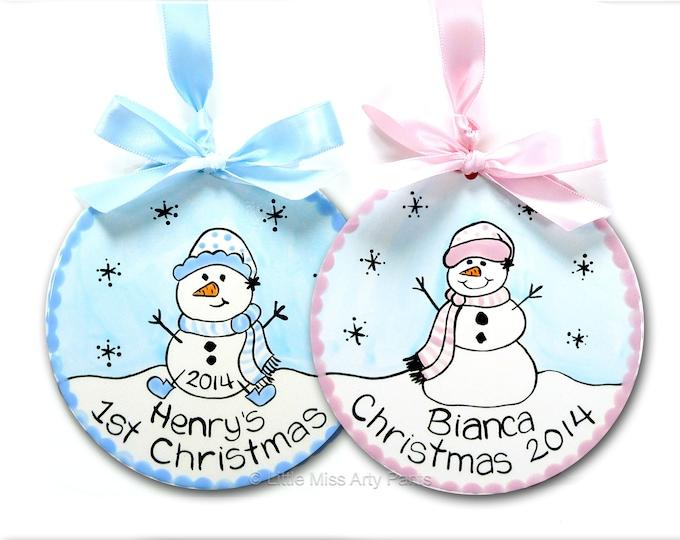 "Personalized Ceramic Christmas Ornament - Ceramic Christmas Ornaments - Personalized 5"" Ceramic Snowman Ornament - 1st Christmas"