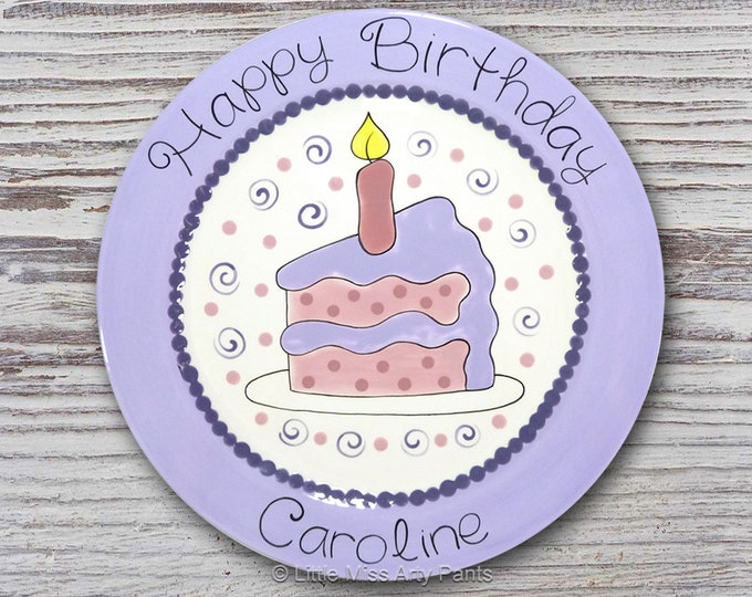 Personalized Birthday Plates - Happy Birthday Plate - 1st Birthday Plate - Hand painted Ceramic Birthday Plate - Piece of Cake Design Plate