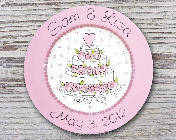 Personalized Wedding Plates - Anniversary Plate - Hand Painted Ceramic Wedding Plate -Personalized Wedding Plate- Floral Cake Wedding Plate