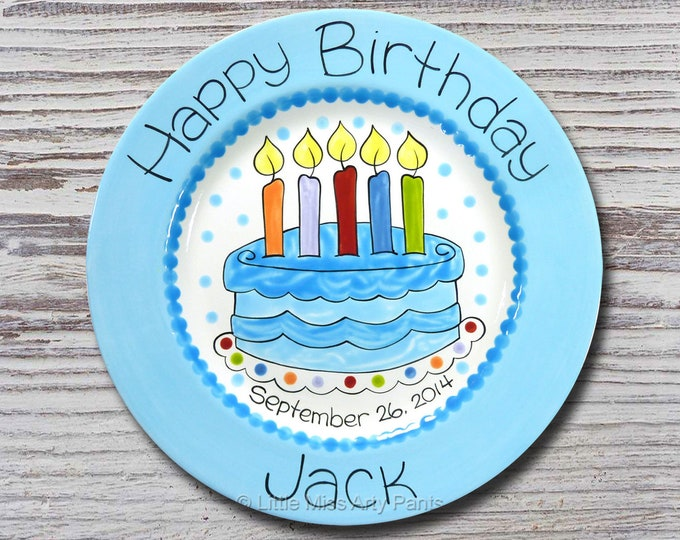 Personalized Birthday Plates - Happy Birthday Plate - 1st Birthday Plate - Hand painted Ceramic Birthday Plate - Fancy Birthday Cake Design