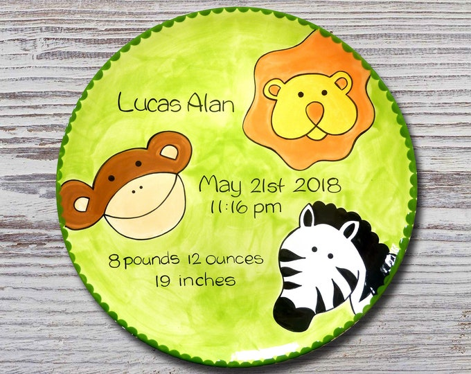 Personalized Birth Plates - Personalized Ceramic Baby Plate - Personalized Baby Plates - Baby Shower Plates- Jungle Animals Design- New Baby