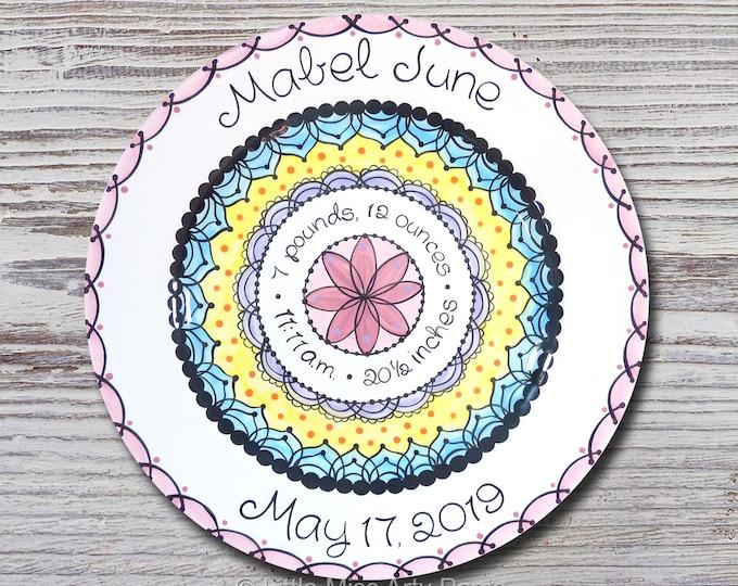 Personalized Birth Plates - Personalized Ceramic Baby Plate - Personalized Baby Plate - Baby Shower Plates - Pink Mandala Design - New Baby