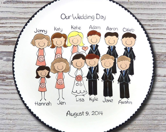Personalized Wedding Portrait Platter - Custom Wedding Platter - Personalized Wedding People Platter - Personalized Wedding Party Platters