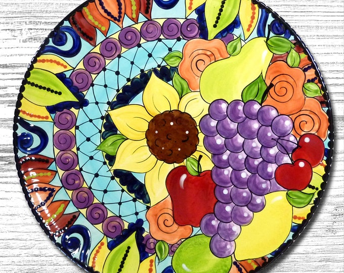 Hand painted Fruit Mandala 15 inch Platter