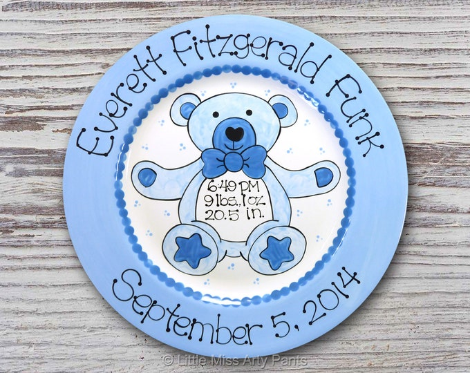 Personalized Birth Plates - Personalized Ceramic Baby Plate - Personalized Baby Plates - Baby Shower Plates - Teddy Bear Design - Pink