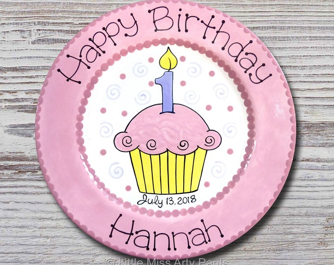 Personalized Birthday Plates - Happy Birthday Plate - 1st Birthday Plate - Hand painted Ceramic Birthday Plate - 1st Birthday Cupcake Design