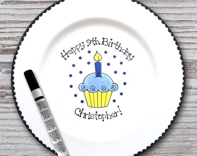 Personalized Birthday Signature Plate - Birthday Cupcake Design - Personalized Birthday Plate - Happy Birthday Plate - 1st Birthday plate