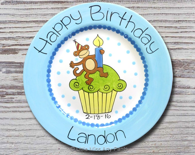 Personalized Birthday Plates - Happy Birthday Plate - 1st Birthday Plate - Hand painted Ceramic Birthday Plate - Monkey Cupcake Design