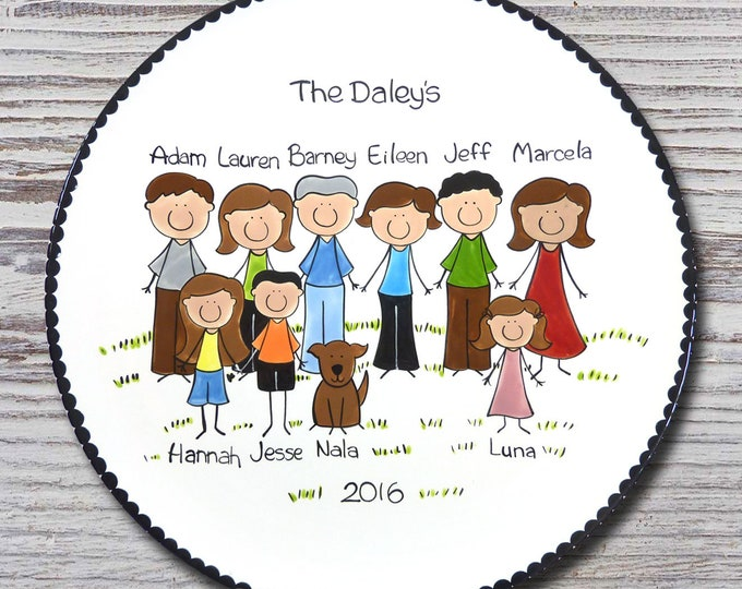 Personalized Family Portrait Platter - Custom Family Platter - Personalized Family People Platter - Personalized Family People Platters