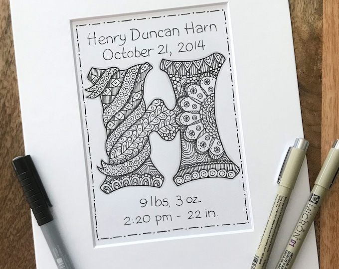 Personalized Monogram Baby Art - Zentangle Baby Announcement  - Hand Drawn Birth Monogram Zentangle Art - Personalized Birth Announcement