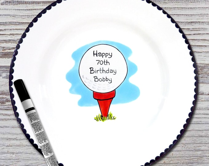 Personalized Birthday Signature Plate  - Personalized Birthday Plate - Happy Birthday Plate - Golf Design - Golf Ball - Golf Birthday Gift