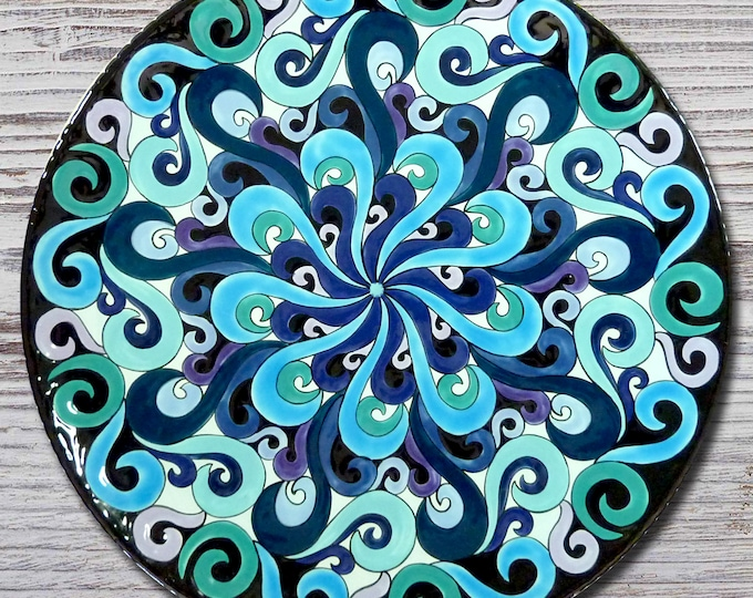 Hand painted Wave Mandala 13 inch Platter