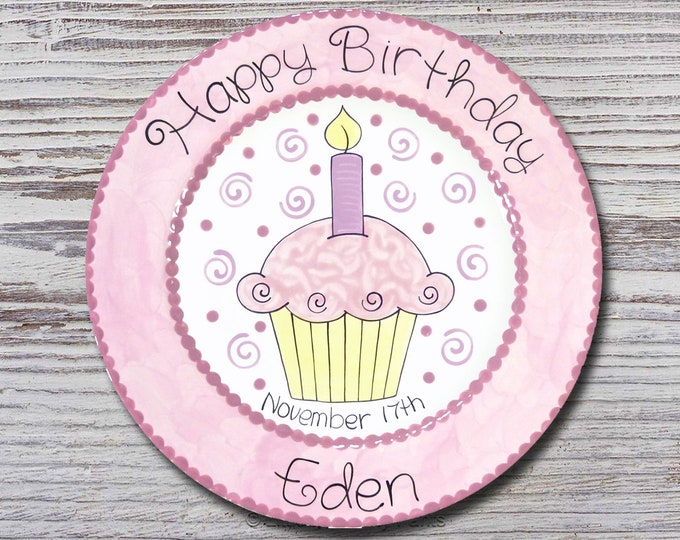 Personalized Birthday Plates - Happy Birthday Plate - 1st Birthday Plate - Hand painted Ceramic Birthday Plate - Birthday Cupcake Design