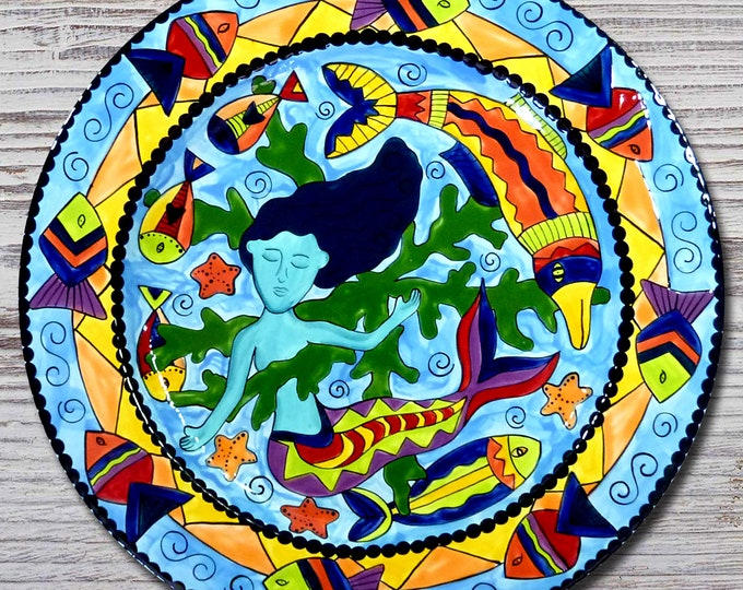 Hand painted Mermaid Mandala 13 inch Platter - Mermaid - Fish - Ocean - FREE SHIPPING