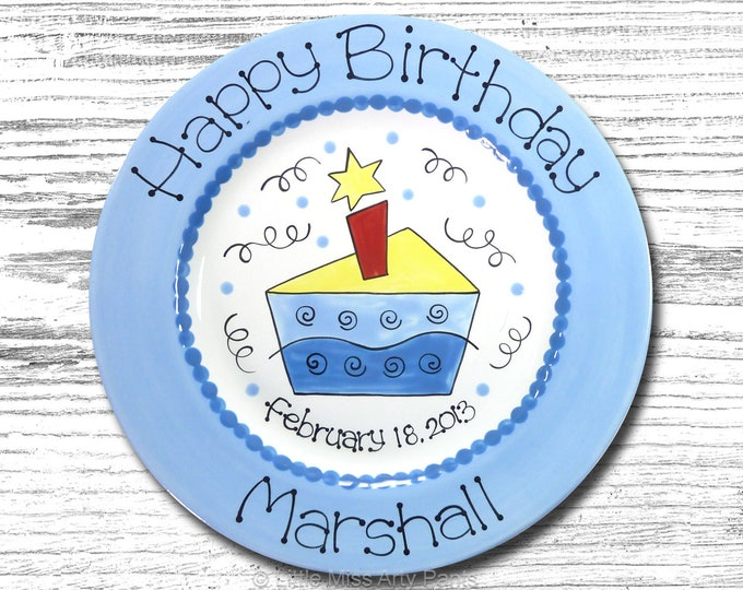 Personalized Birthday Plates - Happy Birthday Plate - 1st Birthday Plate - Hand painted Ceramic Birthday Plate - Funky Birthday Cake Design