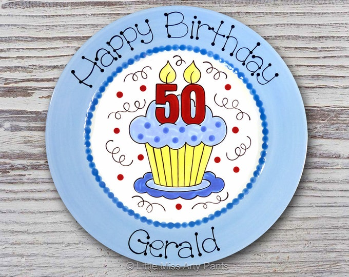 Personalized Birthday Plates - Happy Birthday Plate - 1st Birthday Plate - Hand painted Ceramic Birthday Plate - Number Candle Cupcake Plate